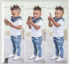 3PCS/Set Toddler Baby Boys Tops T-shirt+ Scarf+ Denim Pants Kids Clothes Outfits