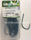 MUSTAD ULTRA POINT OFFSET SOFT BAIT BARBED HOOKS IN 3/0 or 4/0  - QTY 25