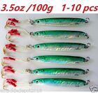 Knife Jigs 3.5oz/100g Green Vertical Butterfly Saltwater Fish Lures 1 to 10 pcs