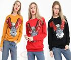 Womens Ladies Long Sleeve Sequin Embellished Eagle Sweatshirt Pullover Jumper