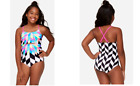 GIRLS JUSTICE GEOMETRIC CUTOUT ONE PIECE SWIM SUITE SIZE REG 14 NEW WITH TAGS