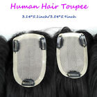 "New Womens 3Layers Human Hair Topper Toupee Mono Base 3.14''x5.1"" /3.54''x5.9"""