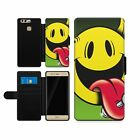 Funny Yellow Devil Punk Leather Wallet Faux Phone Case Cover Protector