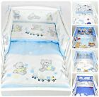 3 PIECES NURSERY - BABY BEDDING SET- BLUE- BUMPER-PILLOW-QUILT COVER to fit COT
