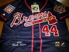 NAVY Brand New Atlanta Braves #44 Hank Aaron Dual Patch Stitched Majestic Jersey