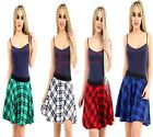 Womens Ladies Elasticated Waist Band Tartan Print Check Mini Skater Flare Skirt
