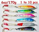 1 - 10 pcs 6oz/170g Knife Vertical Butterfly Jigs Saltwater Fishing Lures