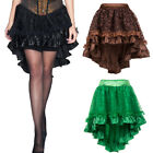 Floral Tulle Asymmetrical Satin Lace Ruffle Trim Steampunk Skirt Gothic Skirts