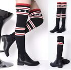 Ladies Black Stars and Stripes Over The Knee Stretch Sock Faux Leather Boots