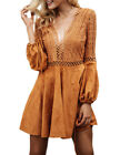 Fashion Women Sexy Antique Backless Hollow V-Collar Loose Slim Party Mini Dress