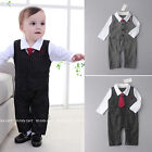 Toddler Kids Baby Boys Romper One-Piece Formal Outfits Tie Wedding Party Newborn