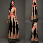 backless dresses uk - Women's Sexy Sleeveless  Beach Halter Backless Casual Split Long Maxi Dress