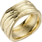 Wide Ring Women's from Real 585 Gold Yellow Matte Finger