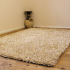 NEW CREAM RUG SHINY ELEGANT SHIMMER 3CM THICK PILE SHAGGY RUGS ON CLEARANCE