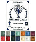 BOX 12 PIECES HIGH QUALITY SILVER CUP CUE CHALK AVAILABLE IN VARIOUS COLOURS
