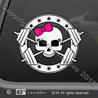 Girl Weight Trainer Skull Decal Sticker girls weight lifting body building decal