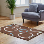 BROWN CIRCLE DESIGN QUALITY CLEARANCE RUG ATTRACTIVE NEW MODERN RUG ON SALE