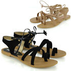 Womens Ladies Tie Up Gladiator Flat Sandals Strappy Summer Toe Post Shoes Size