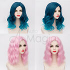 Lolita Cosplay Wig Fancydress Costume Hair Women Wavy Party Halloween Pink Blue
