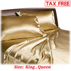 Satin Charmeuse Sheet Set Queen King Soft Silk Feel Bedding 4 Pcs Luxury Gold image