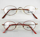 Men women Eyeglass frame optical Vintage oval small size 43-23-140 Gold/red New