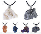 Natural Agate Geode Irregular Plating Gemstone Pendant Rubber Chain Necklace