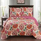 Vivacious Tamiya Floral Pattern lightweight Oversized Quilted Coverlet Set image