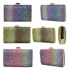 New Glitter Shimmer Rainbow Effect Ladies Evening Hardcase Clutch Bag Purse