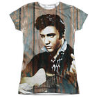 Elvis Presley WOODGRAIN 1-Sided Sublimated Big Print Poly Juniors T-Shirt