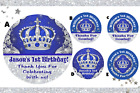 BLUE AND SILVER PRINCE CROWN 1ST BIRTHDAY ROUND LABELS PARTY STICKERS FAVORS