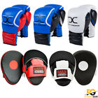 Leather Focus Pads Hook and Jab MMA Boxing Kick Curved Mitt Gloves Thai Muay New