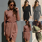 Uk Women Long Sleeve Bodycon Mini Jumper Dress Ladies Evening Party Dresses 6-18