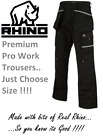 Rhino Men Work Cargo Trouser Black Pro Heavy Duty Multi Pockets & Knee Pad Pkt