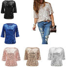 party blouses for women - Ladies Women Sparkle Shine Glitter Sequin T Shirts Ball Party Casual Tops Blouse