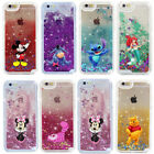 For iPhone X 6 7 8 Cartoon Figure Glitter Moving Liquid Hard Phone Case Cover