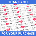 Thank You Stickers / Labels - Custom Personalised Order Purchase Rectangle Heart