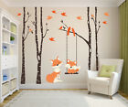Nursery Wall Decals Baby & Mom Orange Fox 4 Birch Trees & Sw
