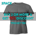3 PACK MENS PLAIN POCKET T SHIRT HEAVYWEIGHT SHORT SLEEVE TEE ACTIVE WORK SHIRTS image