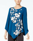 NEW Alfani Women Floral Printed Point Hem Angel Bell Sleeve Tunic Top Teal XL