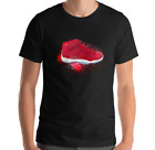 COOL BLACK T-SHIRT SNEAKER TEE TO MATCH JORDAN RETRO 11 FIRE RED CHICAGO