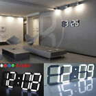 3D Modern Digital LED Table Desk Night Wall Clock Alarm Watch 24/12 Hour Display