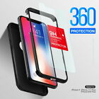 iPhone X 8 7 Plus Thin Shockproof Full Body Soft Case Cover Wth Tempered Glass