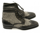 Handmade Black Ankle High Leather Tweed Boot. Dress Stylish  Boot formal Boot