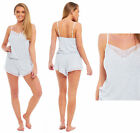 Ladies Short Grey Marl 100% VISCOSE Playsuit Pyjamas Summer Cami Sleeveless Vest