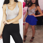 Ladies Metallic Crop Top Knit Body Chain Metal Harness Stretchy Evening Party UKTops & Shirts - 53159