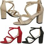 WOMENS LADIES SHOES FASHION PARTY PROM CASUAL OPEN TOE MID BLOCK HEEL SANDALS