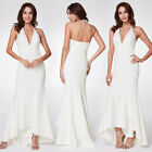 Ever-Pretty Long V-neck Gown Backless Bridesmaid Dresses White Sleeveless 07230