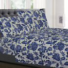 Tuscany Navy Floral Pattern 4-Piece 1800 Thread Count Sheet Set image