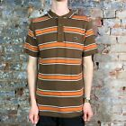 Atticus Reyes Casual Tee Short Sleeve Polo T-Shirt Brown/White in size M