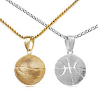 """3D Sport Basketball Stainless Steel Couple Necklace with 24"""" Cuban Chain"""